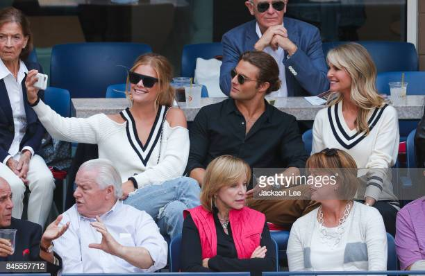 Nina Agdal seen first time out in public with boyfriend Jack BrinkleyCook and his mom Christy Brinkley at the 2017 US Open Men's Championships at...