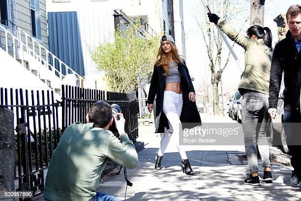 Nina Agdal shoots New Era Cap MLB Campaign on April 13 2016 in Brooklyn New York
