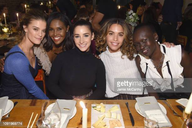 Nina Agdal Ubah Hassan Aly Raisman Cleo Wade and Alek Wek attend as Aerie celebrates #AerieREAL Role Models in NYC on January 31 2019 in New York City