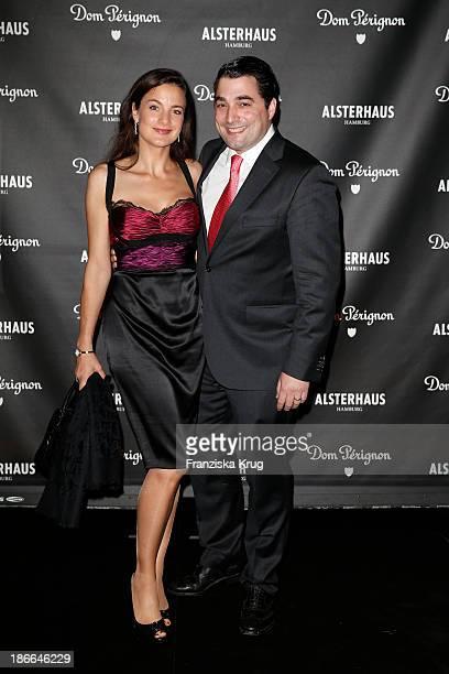 Nina and Roberto Valerio attend the Dom Perignon Balloon Venus by Jeff Koons at Alsterhaus on November 02 2013 in Hamburg Germany