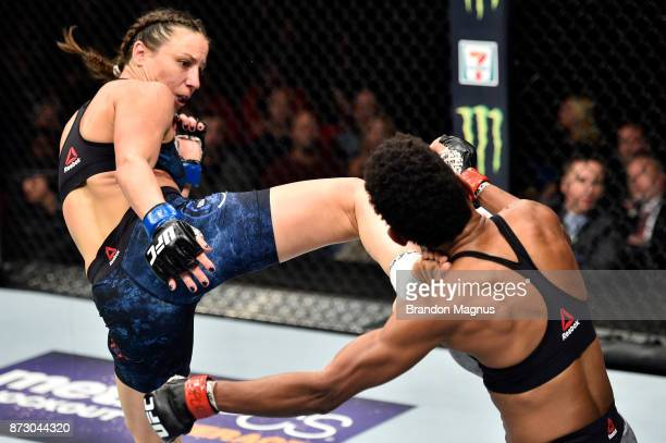 Nina Ansaroff kicks Angela Hill in their women's strawweight bout during the UFC Fight Night event inside the Ted Constant Convention Center on...