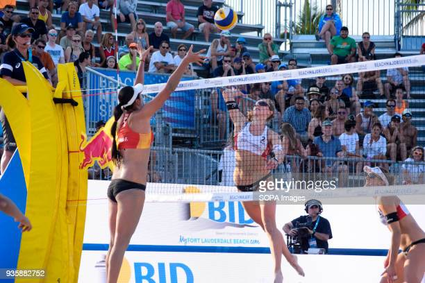 Nina Betschart of the Swiss team attacks China's national team in the match that are defeated by 2 set to 1. The Volleyball Major Series 2018 Florida...