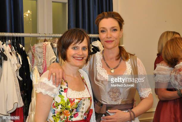 Nina Blum and Aglaia Szyszkowitz pose during the Pro Juventute 70th anniversary charity event at Schlosshotel Schoenbrunn on April 3 2017 in Vienna...
