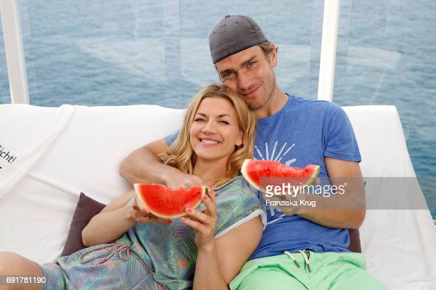 Nina Bott and her boyfriend Benjamin Baarz are seen on board of the TUI cruise ship 'Mein Schiff 6' on June 2 2017 in Hamburg Germany