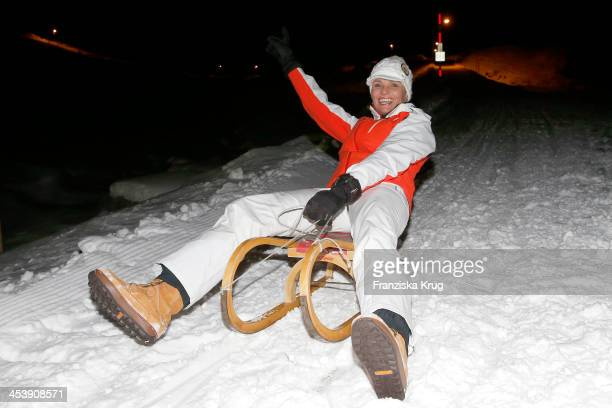 Nina Bott attends the Snowshoe Hiking And Slide Tour Tirol Cross Mountain 2013 on December 05 2013 in Innsbruck Austria