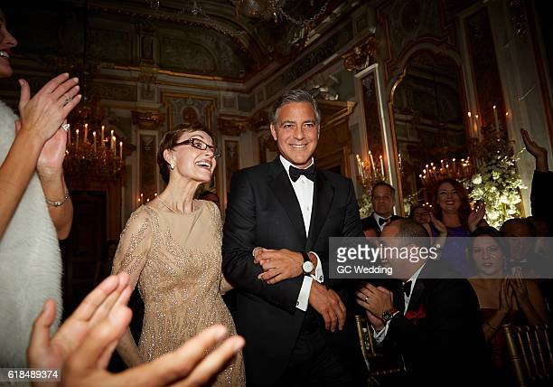 Nina Bruce Warren and George Clooney during the George Clooney and Amal Alamuddin Wedding on September 27 2014 in Venice Italy