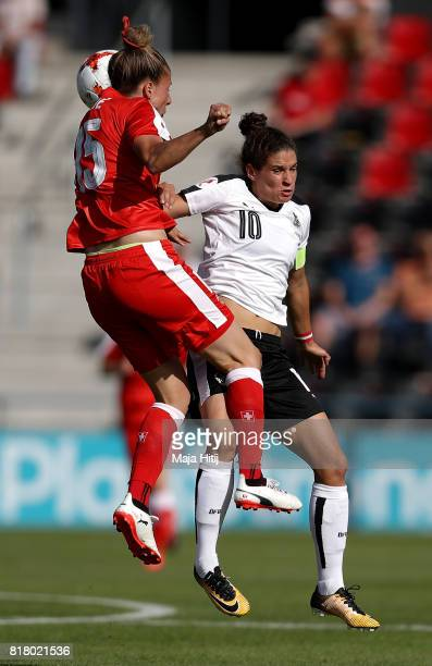 Nina Burger of Austria and Caroline Abbe of Switzerland compete for the ball during the Group C match between Austria and Switzerland during the UEFA...