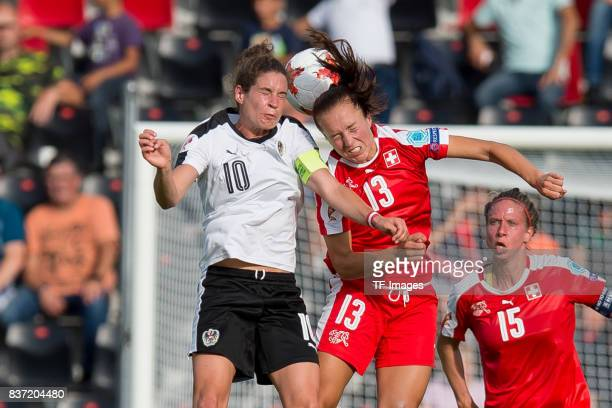 Nina Burger of Austria and Lia Waelti of Switzerland battle for the ball during the Group C match between Austria and Switzerland during the UEFA...