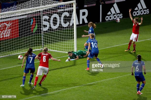 Nina Burger of Austria scores the 2nd goal during the Group C match between Iceland and Austria during the UEFA Women's Euro 2017 at Sparta Stadion...