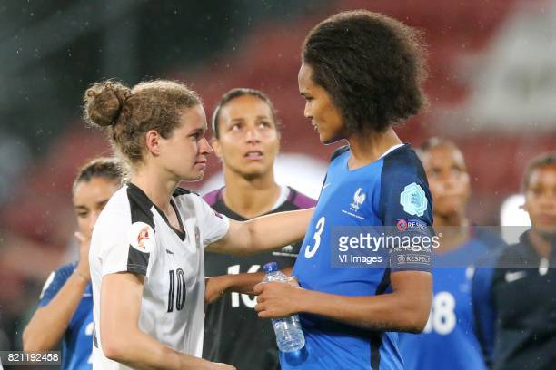 Nina Burger of Austria women Wendie Renard of France women during the UEFA WEURO 2017 Group C group stage match between France and Austria at the...
