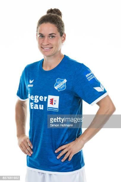 Nina Burger of SC Sand poses during the Allianz Frauen Bundesliga Club Tour on August 22 2017 in Willstatt Germany