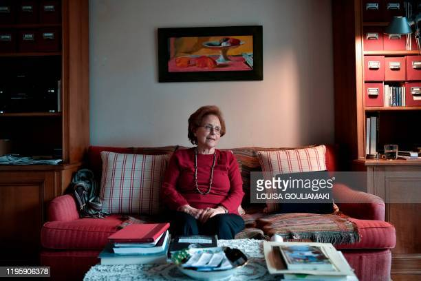 Nina Camhi a Greek Jew who was hidden during the Second World War on a Greek island, tells her story during an interview with AFP at her home in...