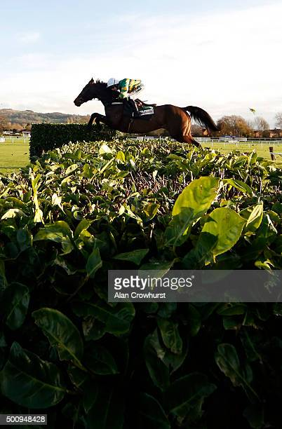 Nina Carberry Riding Josies Orders clear the hedge on their way to winning The Glenfarclas Cross Country Steeple Chase at Cheltenham racecourse on...