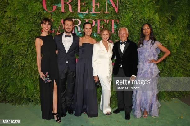 Nina Cattelan Alessandro Cattelan Roberta Armani Lauren Hutton Giorgio Armani and Zoe Saldana attend the Green Carpet Fashion Awards Italia at Teatro...