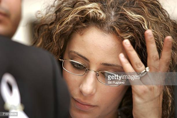 Nina Chahine, 19-years-old, of Dearborn, Michigan attends a press conference at U.S. District Court after a lawsuit was filed on her behalf by the...
