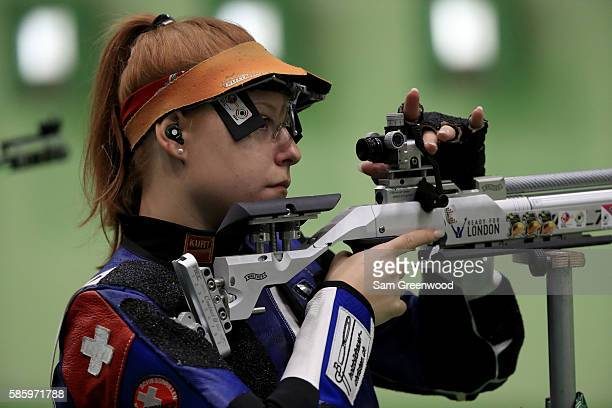 Nina Christen of Switzerland shoots in a 10m Rifle traing session prior to the start of the Rio 2016 Olympic Games at the Olympic Shooting Centre on...