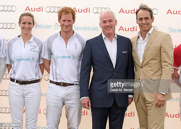 Nina Clarkin Prince Harry Damian West and Andre Konsbruck Director of Audi UK attend day one of the Audi Polo Challenge at Coworth Park on May 30...