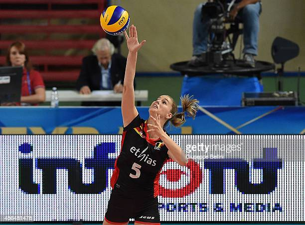Nina Coolman of Belgium in action during the FIVB Women's World Championship pool E match between Dominican Republic and Belgium on October 1 2014 in...