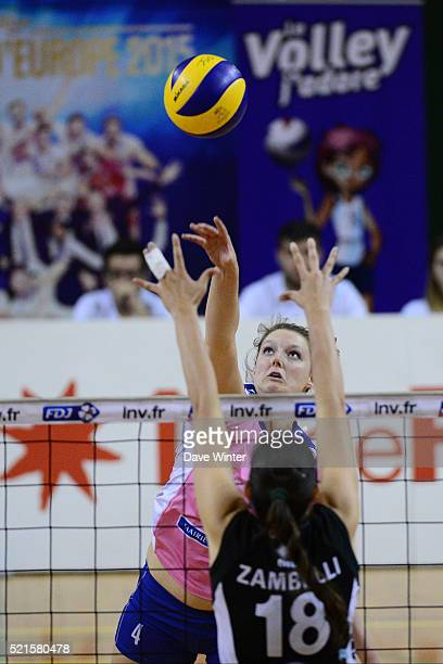 Nina Coolman of Stade Francais Paris Saint Cloud and Marina Zambezi of Le Cannet during the Ligue A Quarter Final Play Off match between Stade...