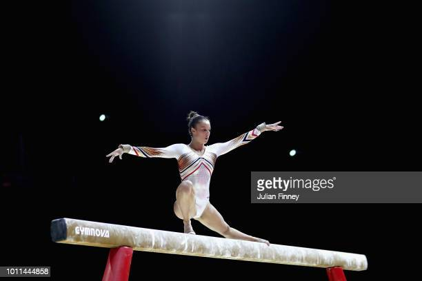 Nina Derwael of Belgium competes in the Women's Individual Beam Final during the gymnastics on Day Four of the European Championships Glasgow 2018 at...