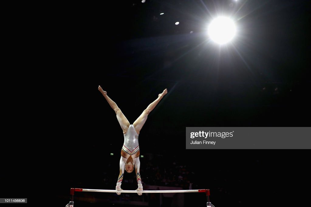 Nina Derwael of Belgium competes in the Women's Individual Uneven Bars Final during the gymnastics on Day Four of the European Championships Glasgow 2018 at The SSE Hydro on August 5, 2018 in Glasgow, Scotland.