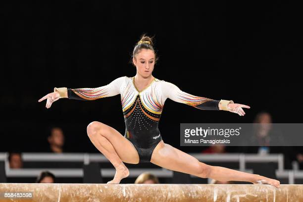 Nina Derwael of Belgium competes on the balance beam during the women's individual allaround final of the Artistic Gymnastics World Championships on...