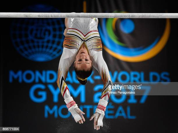 Nina Derwael of Belgium competes on the uneven bars during the individual apparatus finals of the Artistic Gymnastics World Championships on October...