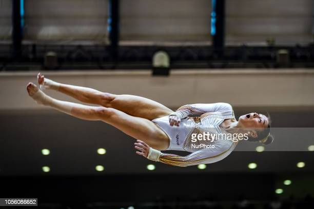 Nina Derwael of  Belgium during Vault Individual Final for Women at the Aspire Dome in Doha Qatar Artistic FIG Gymnastics World Championships on 1 of...