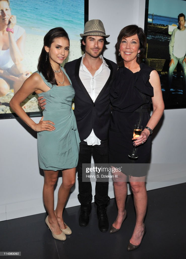 Nina Dobrev, actor Ian Somerhalder and President of La Mer Maureen Case attend World Ocean Day 2011 celebrated by La Mer and Oceana at Affirmation Arts on May 18, 2011 in New York City.