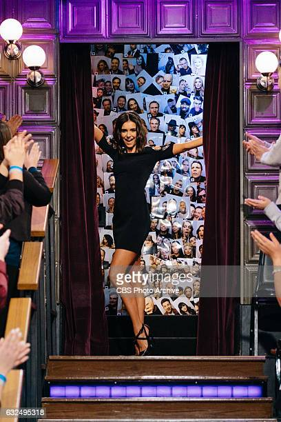 Nina Dobrev and Chris Hardwick chat with James Corden during The Late Late Show with James Corden Thursday January 19 2017 On The CBS Television...