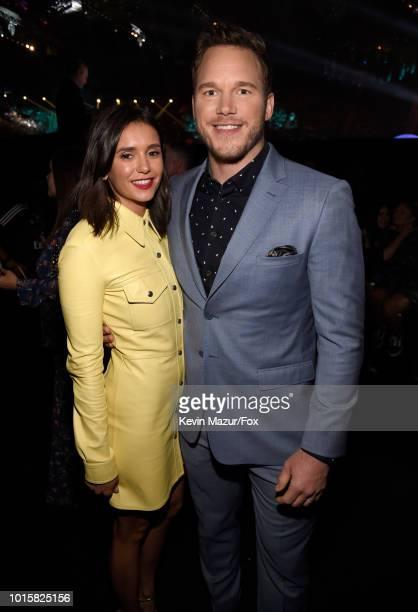 Nina Dobrev and Chris Pratt attend FOX's Teen Choice Awards at The Forum on August 12 2018 in Inglewood California