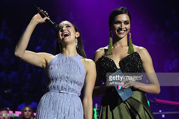 Nina Dobrev and Deepika Padukone present Best Video award on stage during the MTV Europe Music Awards 2016 on November 6 2016 in Rotterdam Netherlands