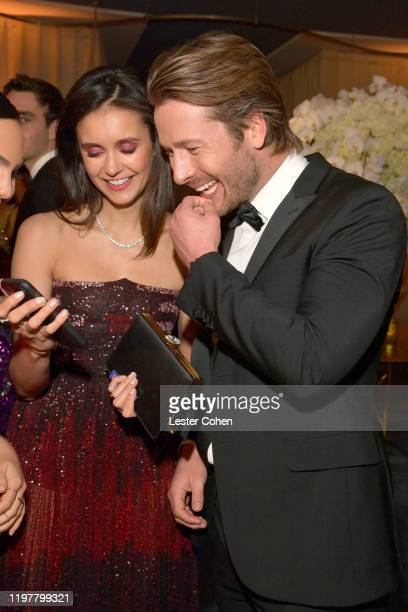 Nina Dobrev and Glen Powell attend The 2020 InStyle And Warner Bros 77th Annual Golden Globe Awards PostParty at The Beverly Hilton Hotel on January...