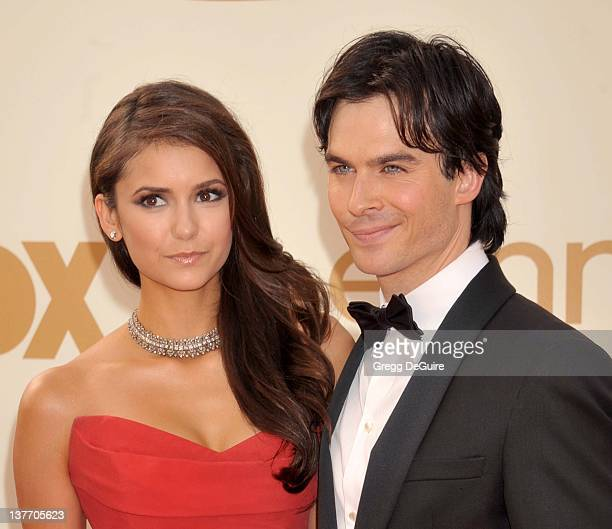 Nina Dobrev and Ian Somerhalder arrive at the Academy of Television Arts & Sciences 63rd Primetime Emmy Awards at Nokia Theatre L.A. Live on...