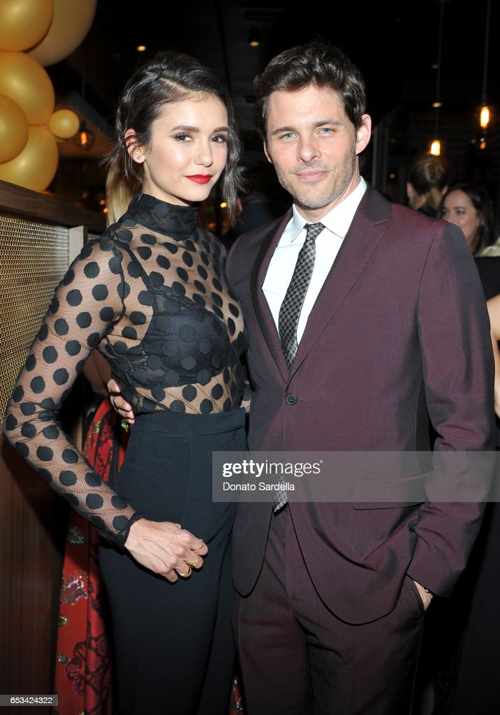 Nina Dobrev (L) and James Marsden at the Power Stylists Dinner, hosted by The Hollywood Reporter and Jimmy Choo, on March 14, 2017 in West Hollywood, California.