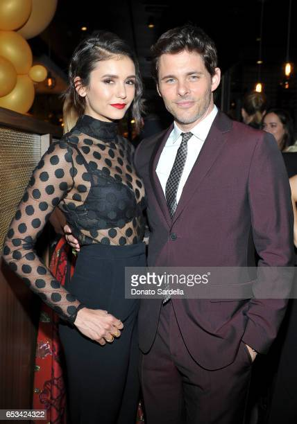 Nina Dobrev and James Marsden at the Power Stylists Dinner hosted by The Hollywood Reporter and Jimmy Choo on March 14 2017 in West Hollywood...
