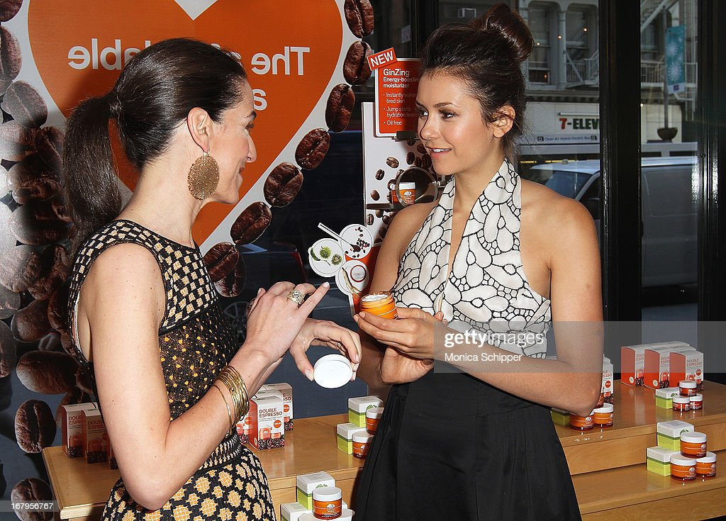 Nina Dobrev and Jane Lauder attend Origins 'GinZing' Launch Event at Origins 5th Avenue on May 3, 2013 in New York City.