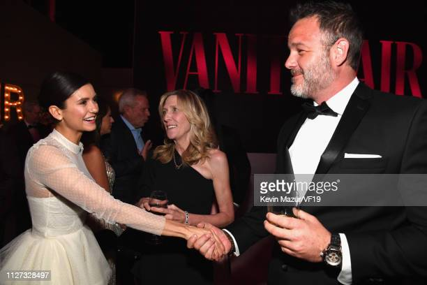 Nina Dobrev and Maura Mandt attend the 2019 Vanity Fair Oscar Party hosted by Radhika Jones at Wallis Annenberg Center for the Performing Arts on...