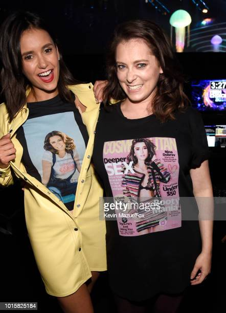 Nina Dobrev and Rachel Bloom attend FOX's Teen Choice Awards at The Forum on August 12 2018 in Inglewood California