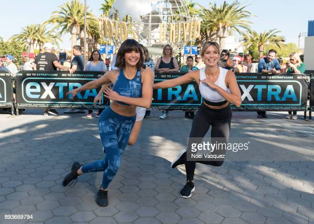 Nina Dobrev and Renee Bargh work out together at 'Extra' at Universal Studios Hollywood on December 15 2017 in Universal City California