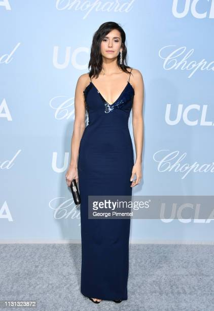 Nina Dobrev arrives at the 2019 Hollywood For Science Gala at Private Residence on February 21, 2019 in Los Angeles, California.