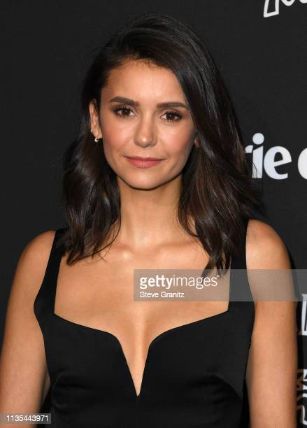 Nina Dobrev arrives at the Marie Claire Change Makers Celebration at Hills Penthouse on March 12, 2019 in West Hollywood, California.
