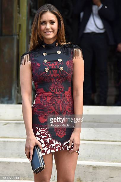 Nina Dobrev arrives at the Versace show as part of Paris Fashion Week Haute Couture Fall/Winter 20142015 on July 6 2014 in Paris France