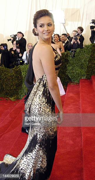Nina Dobrev attends Schiaparelli And Prada Impossible Conversations Costume Institute Gala on May 7 2012 at the Metropolitan Museum of Art in New...