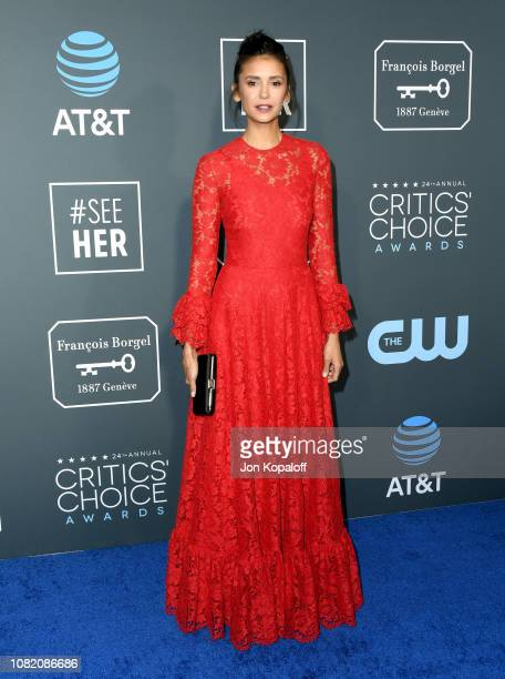 Nina Dobrev attends the 24th annual Critics' Choice Awards at Barker Hangar on January 13 2019 in Santa Monica California