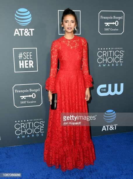 Nina Dobrev attends the 24th annual Critics' Choice Awards at Barker Hangar on January 13, 2019 in Santa Monica, California.
