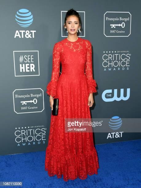 Nina Dobrev attends the 24th annual Critics' Choice Awards at Barker Hangar on January 13 2019 in Santa Monica California