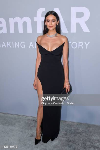 Nina Dobrev attends the amfAR Cannes Gala 2021 during the 74th Annual Cannes Film Festival at Villa Eilenroc on July 16, 2021 in Cap d'Antibes,...