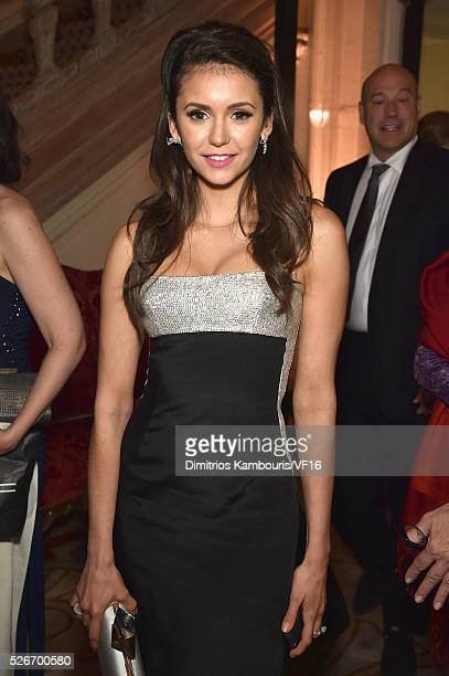 Nina Dobrev attends the Bloomberg Vanity Fair cocktail reception following the 2015 WHCA Dinner at the residence of the French Ambassador on April 30...