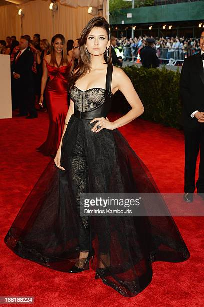 """Nina Dobrev attends the Costume Institute Gala for the """"PUNK: Chaos to Couture"""" exhibition at the Metropolitan Museum of Art on May 6, 2013 in New..."""